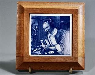 Blue Delft Old Dutch Master Beauty Portrait Tile Walnut