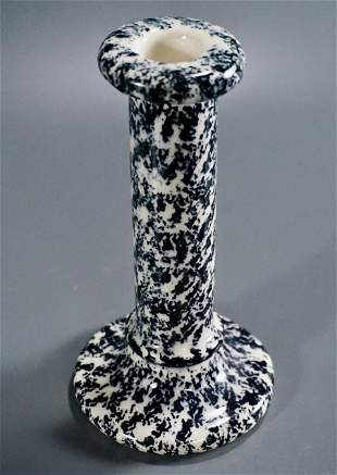 Blue Sponge Ware Pottery Candlestick