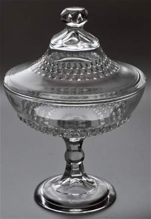 Vintage Pressed Glass Candy Container Lidded Compote