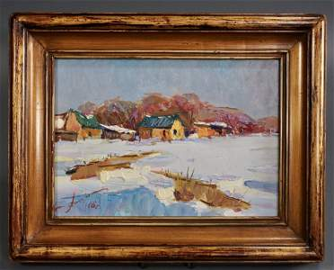 Russian Winter Artist Signed Oil Painting Framed