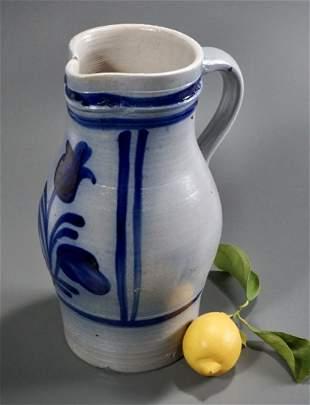 Large Blue Tulip Pitcher Salt Glazed Stoneware Jug