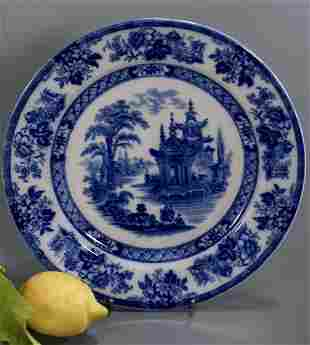 Antique English Doulton Burslem Pagoda Flow Blue Plate