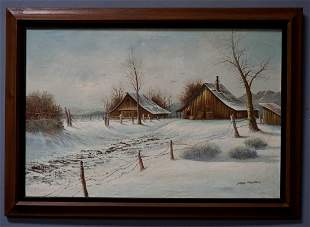 Winter Barn Rural Snow Landscape Large Oil Painting
