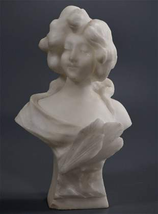 Italian Art Nouveau Carved Alabaster Bust of Maiden