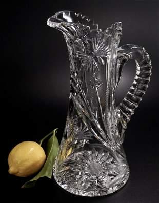 American Brilliant Cut Glass Pitcher circa 1910 Flower