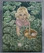 Egg Hunt Mid Century Easter Original Oil Painting