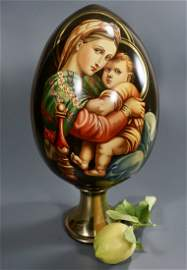 Russian Wooden Easter Egg Lacquer Icon Painting Large
