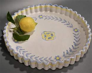 Pie Crust Border Hand Painted Clay Pottery Dish Amnion