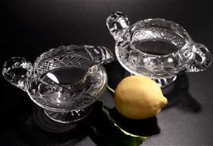 American Brilliant Cut Crystal Footed Creamer Sugar Set
