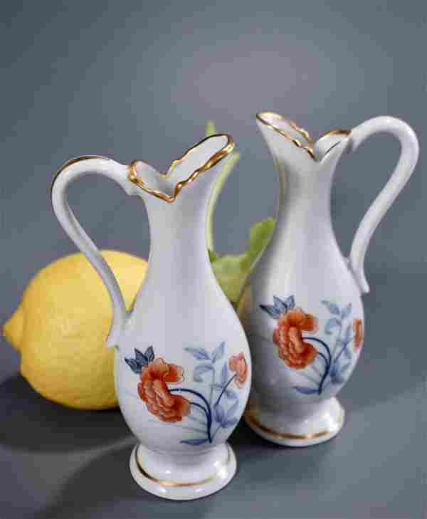 French Limoges Ewer Vase Dollhouse Size Porcelain Pair