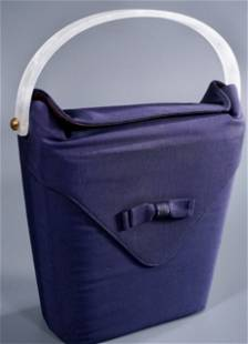 Vintage Mid Century Womens Purse Lucite Handle Blue