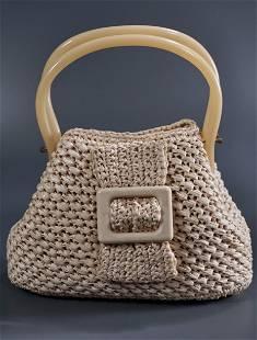 Mid Century Raffia Crochet Bag Lady Purse Lucite
