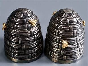 Silver Bee Hive Golden Bumble Bees Salt Pepper Shakers