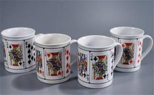 Playing Cards Coffee Mug Lot of 4 Porcelain Mugs