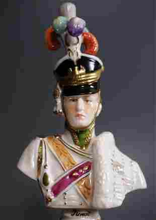 Vintage Saxon Porcelain Bust Napoleonic War General