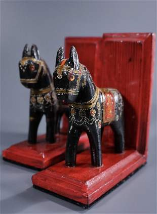 Carved Wood Folk Painted Donkey Bookends Pair