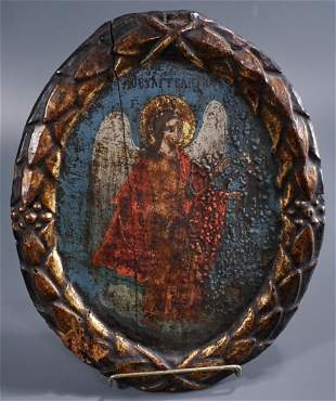 Winged Angel Antique Oval Greek Icon on Wood Exported