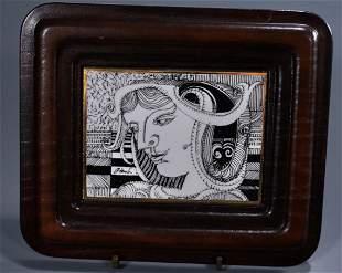 Endre Szasz Signed Art Deco Porcelain Plaque Hollohaza