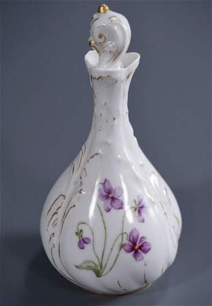 French Hand Painted Porcelain Perfume Scent Bottle