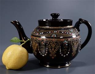 Vintage English Teapot Enamel Jeweled Brown Glaze