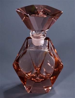 Art Deco Peach Pink Cut Crystal Perfume Bottle