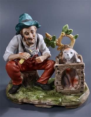 Old Man & Dog Bisque Porcelain Figurine
