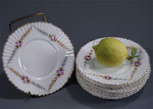 Floral Hand Painted Scalloped Porcelain Small Plate Lot