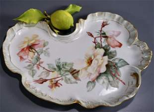 French JP Limoges Porcelain Platter Hand Painted Roses