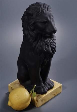 Black Basalt Jasperware Lion Italian Ceramic Mottahedeh
