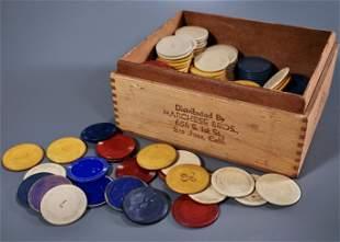 Vintage Bakelite Early Plastic Poker Chips Box of