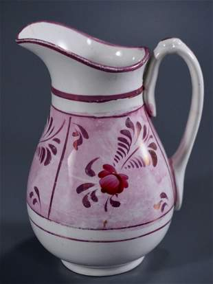 Antique English Pink Luster Pottery Cream Pitcher