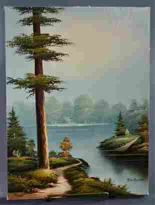 American School Oil on Canvas Painting Artist Signed