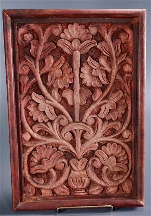 Carved Wood Panel Wall Hanging Plaque