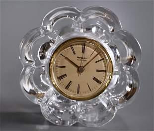 Daum Crystal Vintage Mid Century Floriform Desk Clock