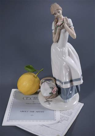 Cecilia Carnation Maiden Porcelain Figurine Made in