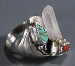 Navajo Turquoise Healing Crystal Sterling Silver Large
