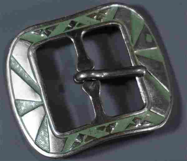 Green Art Deco Design Belt Buckle