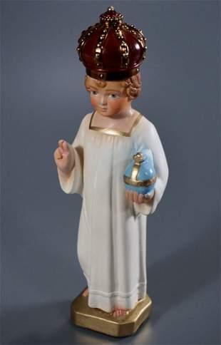 Infant Jesus of Prague Hand Painted Chalkware Figurine