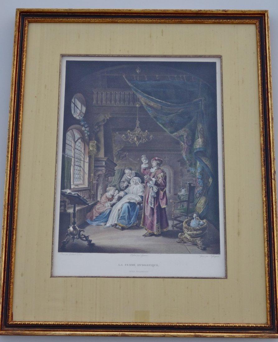 """Antique Doctor Colored Engravings """"La Femme Hydropique"""""""