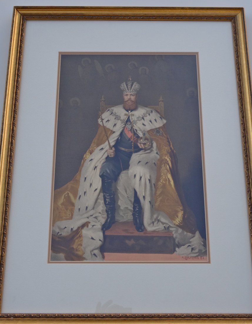 Large Vintage Russian Lithograph Tzar Alexander III