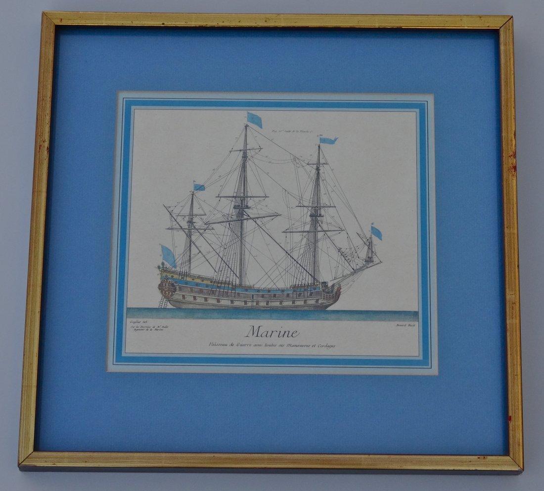 Marine War Ship Antique Nautical Hand Colored Engraving