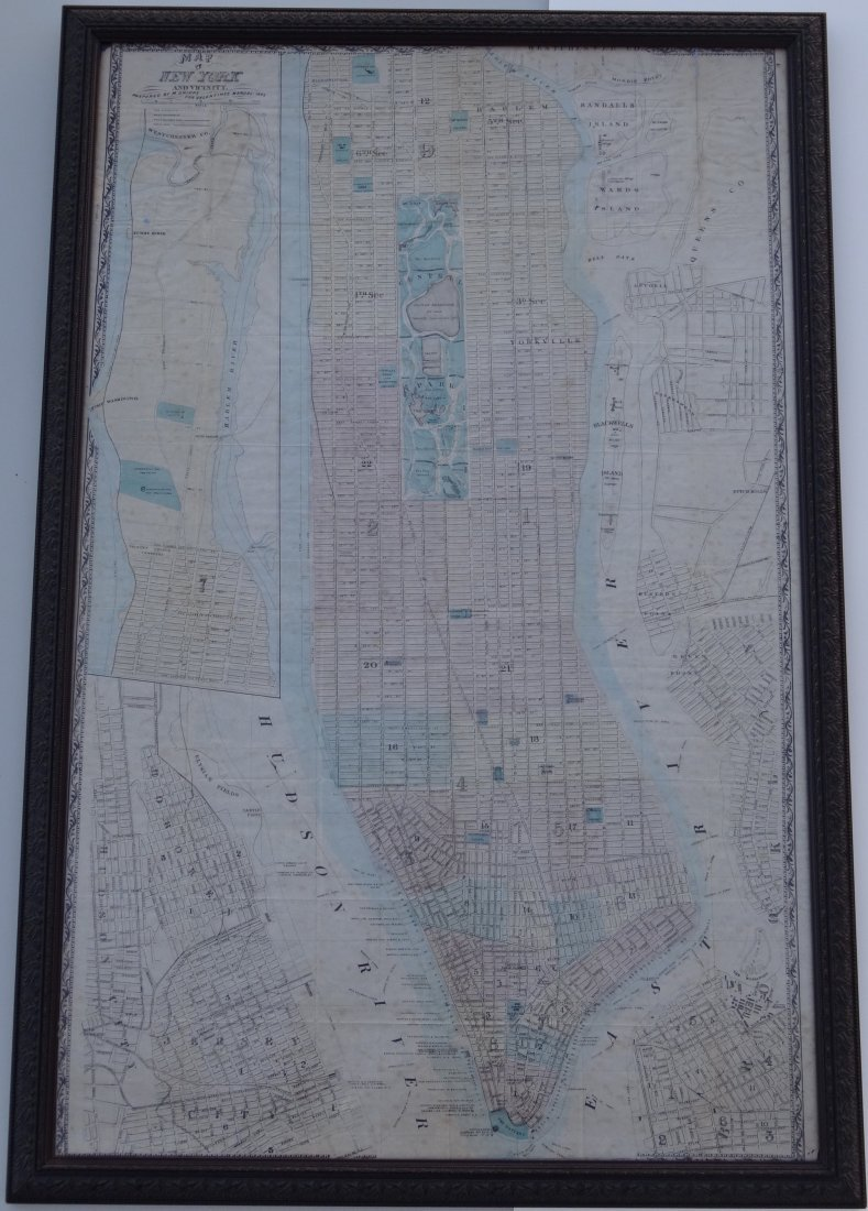Antique Map of New York and Vicinity by M. Dripps for