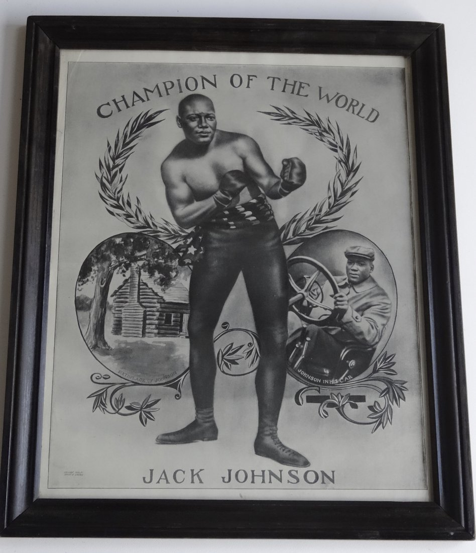 Jack Johnson 1909 Antique Boxing Poster Champion of the