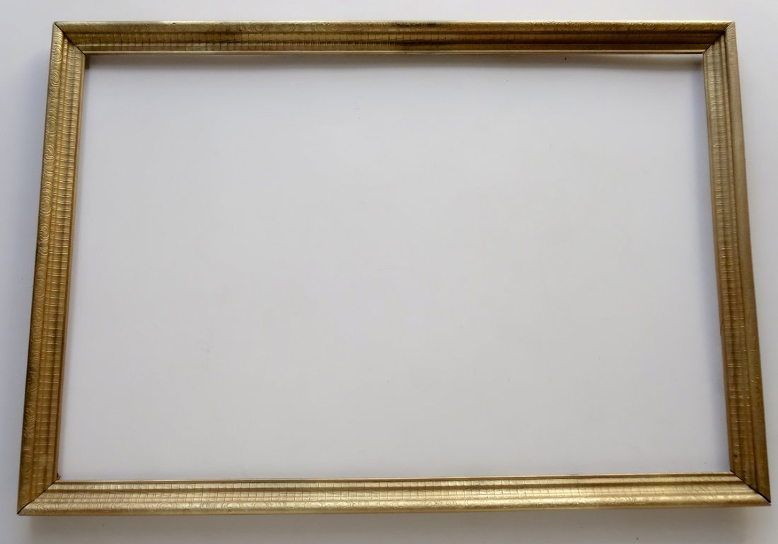 Large Vintage Wood Picture Frame Painted Gold