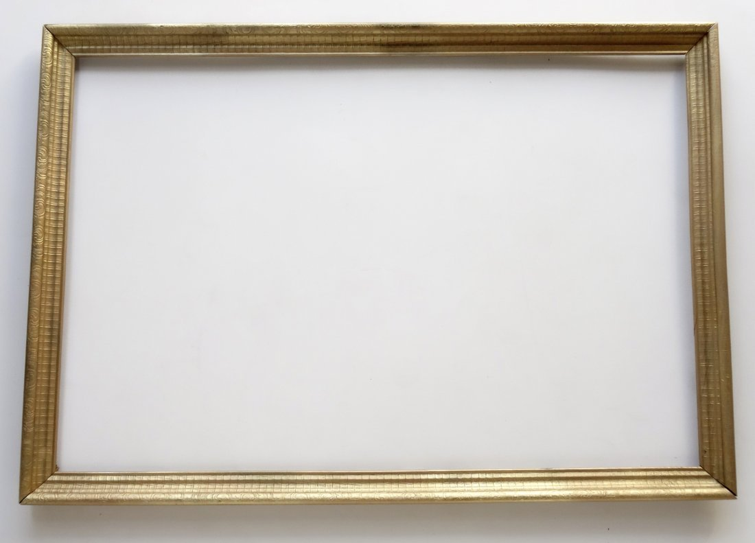 Large Vintage Wood Picture Frame Painted Gold - 2