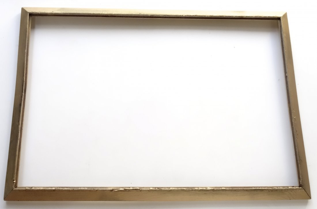 Large Vintage Wood Picture Frame Painted Gold - 5