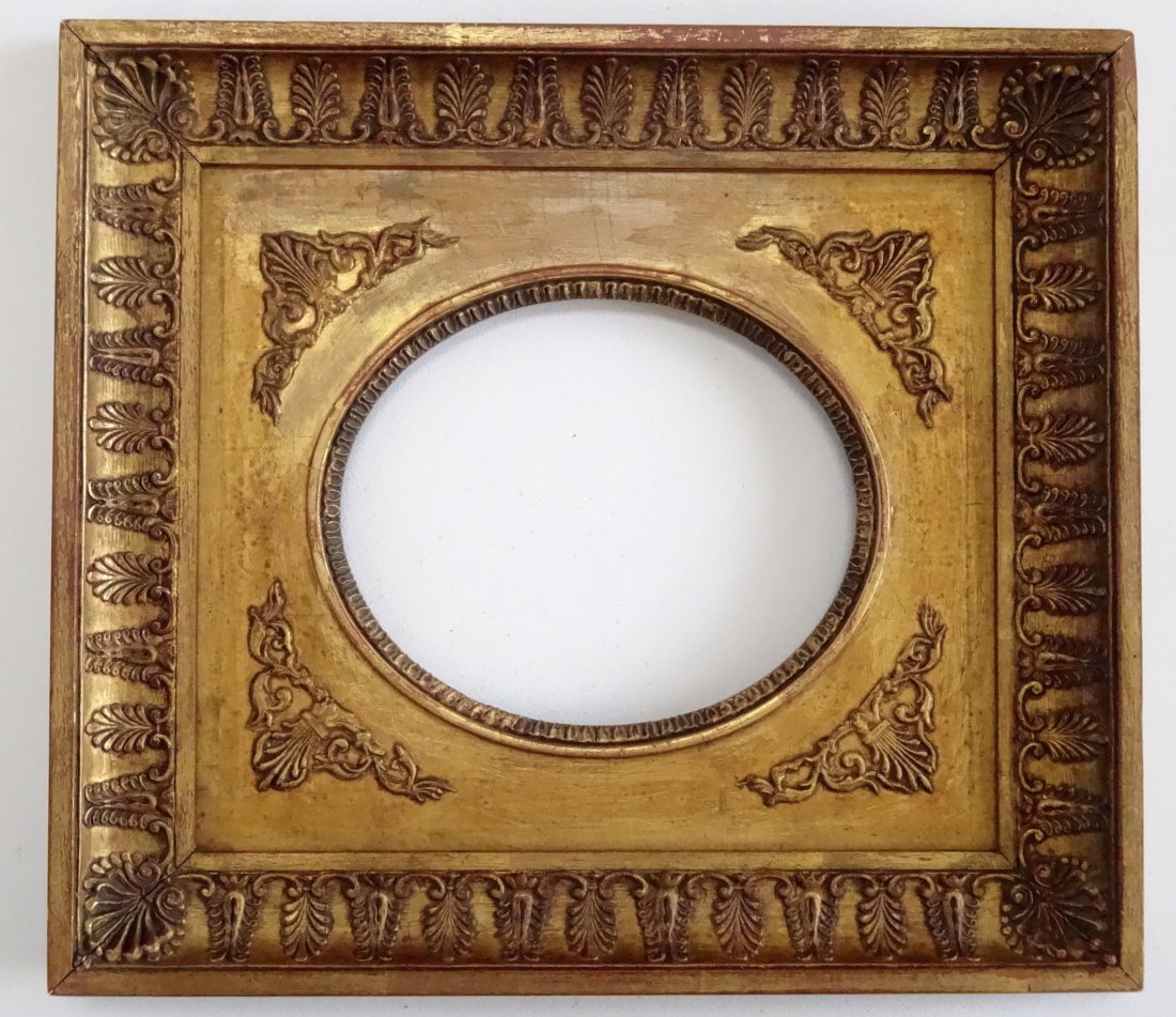Antique French Empire Oval Picture Plaque Frame 4 x 5