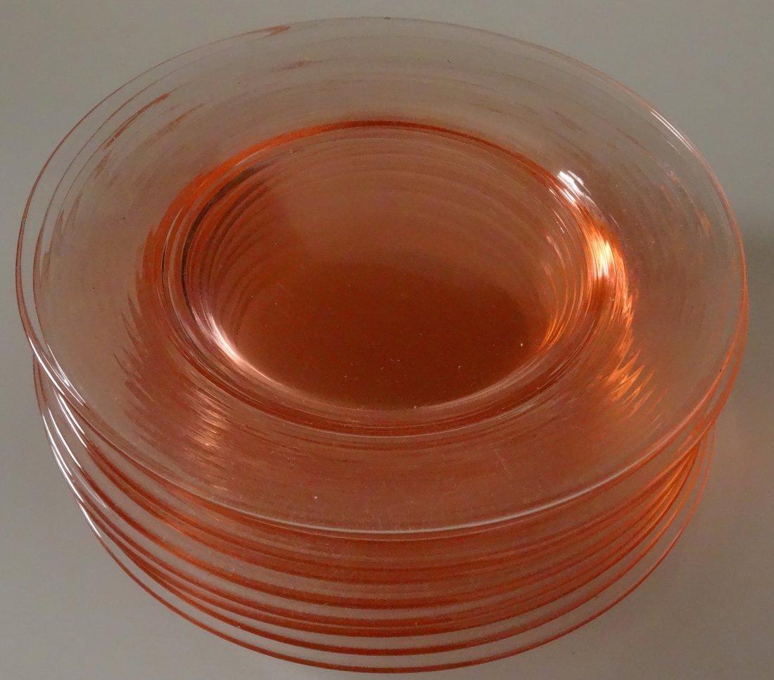 Vintage Peach Pink Depression Glass Serving Plate Lot