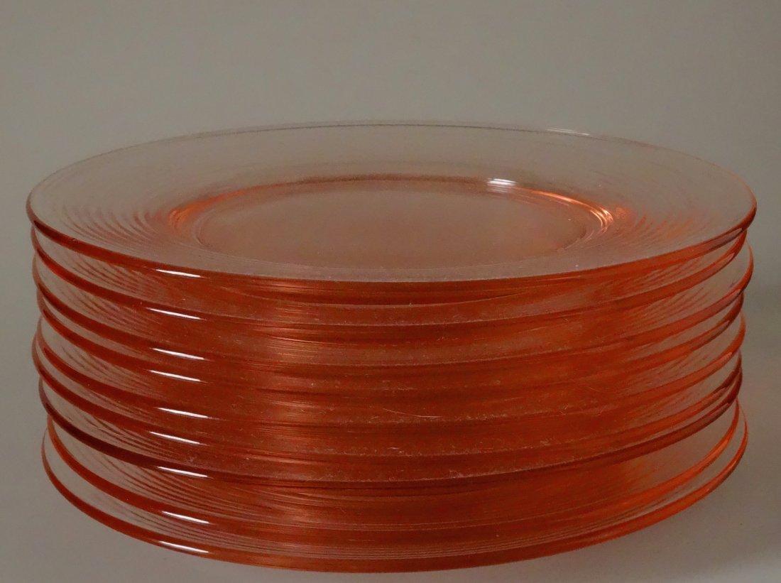 Vintage Peach Pink Depression Glass Serving Plate Lot - 2