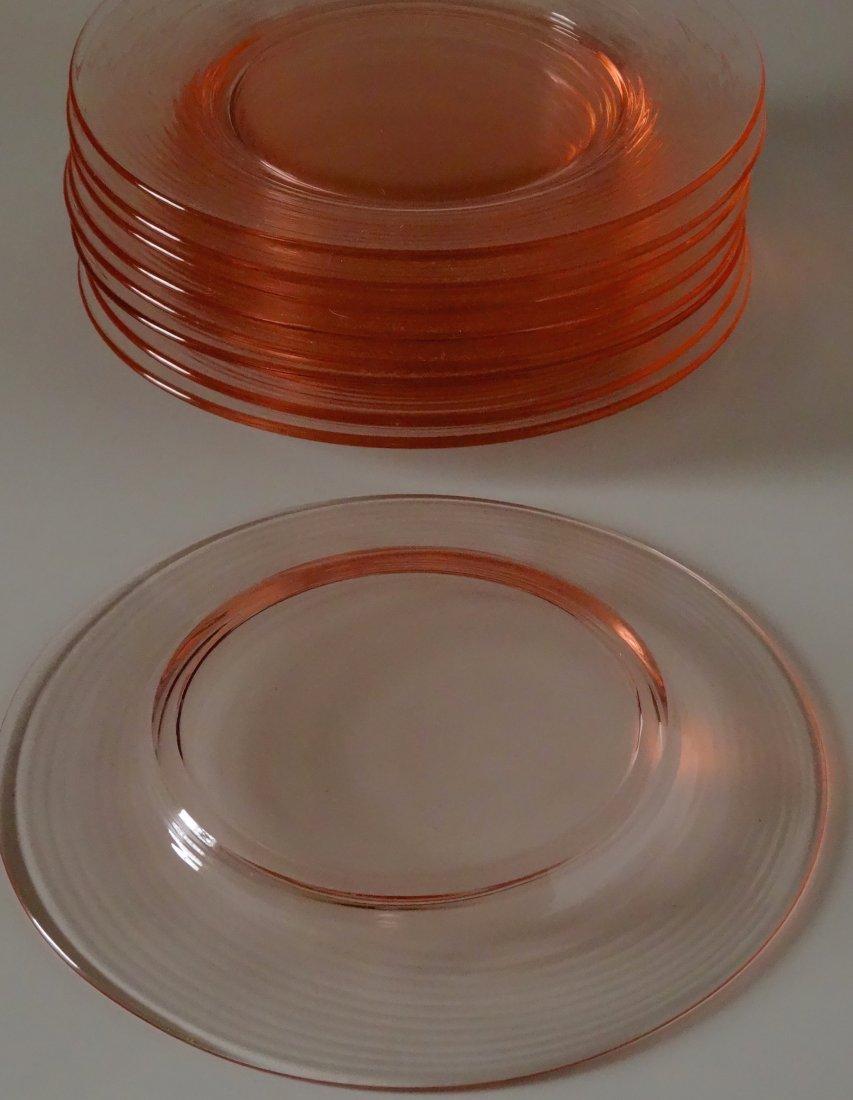 Vintage Peach Pink Depression Glass Serving Plate Lot - 5